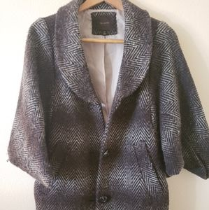 Striped Tweed Cocoon Coat